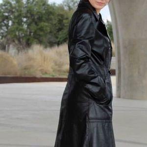 Max Studio black leather trench coat sz 6 trending
